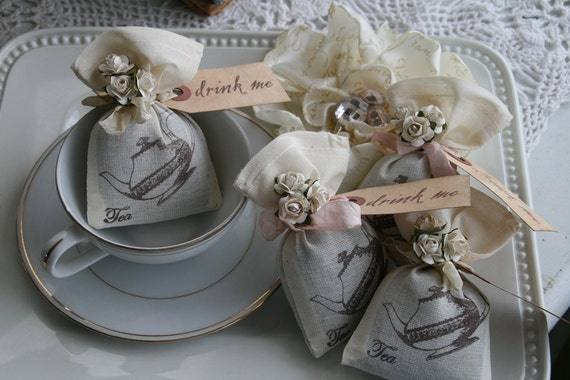 Wedding Favor - Alice in Wonderland Wedding or Party, Tea Party, bridal shower, birthday, baby shower - Jasmine Tea filled