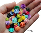36pc petite flower cabochon mix / colorful assorted small resin flower cabs / flat back flower cabs / diy jewelry, cell phone deco / kawaii