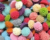 40pc you choose tiny chrysanthemum 9mm resin flower cabochons, 18 colors, perfect for making stud earrings and rings