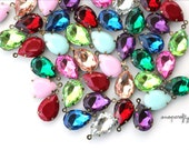 24pc resin teardrop 18x13mm rhinestone gem charms in antique brass one-loop settings, set stones for your jewelry designs