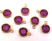 8 Vintage Swarovski Amethyst 39ss (8.16-8.41mm) Crystals, 1 Loop Charms, Drops, Brass Channel Set Stones, Article 816