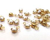 12 Vintage Swarovski 17ss (4-4.2mm, 32pp) Chalk White Gold Plated 1 Loop/Ring Crystal Charms/Drops, 4 Prong Set Rhinestones, Art. 591