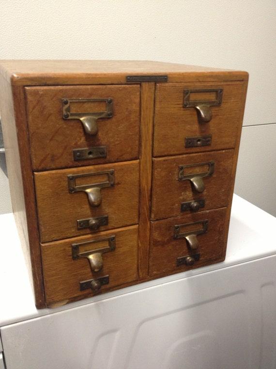 library bureau sole makers 6 drawer card catalog by myatlantis. Black Bedroom Furniture Sets. Home Design Ideas