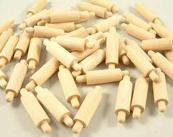 100 Mini Rolling Pins, 1 5/8 inch x 3/8 inch Unfinished Wooden Micro Rolling Pins for DIY