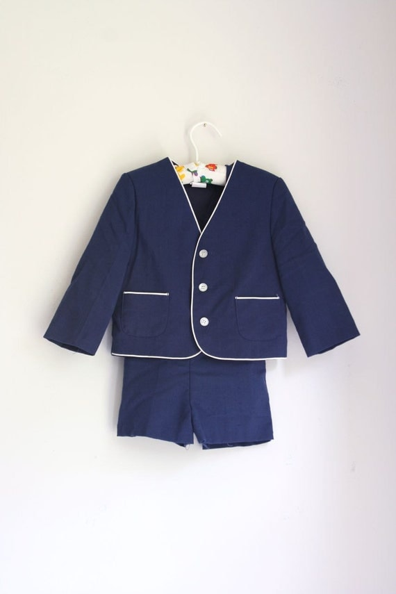 Vintage Boys Suit With Shorts Navy Linen With White Trim 4t