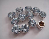 Lot of 4 11mm Lavender Chaton Cut Swarovski Rhinestones in Silver Plated Sew on Settings