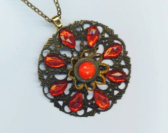 Antique Brass Filigree Pendant . Christmas Holidays . Red German Glass . Red Rhinestones . Brass Petals - Romance by enchantedbeas on Etsy