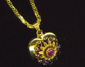 Golden Heart Pendant . Swarovski Rondelle. Fuchsia Rhinestones . Love Necklace . Statement Heart - Romantic Heart by enchantedbeads on Etsy