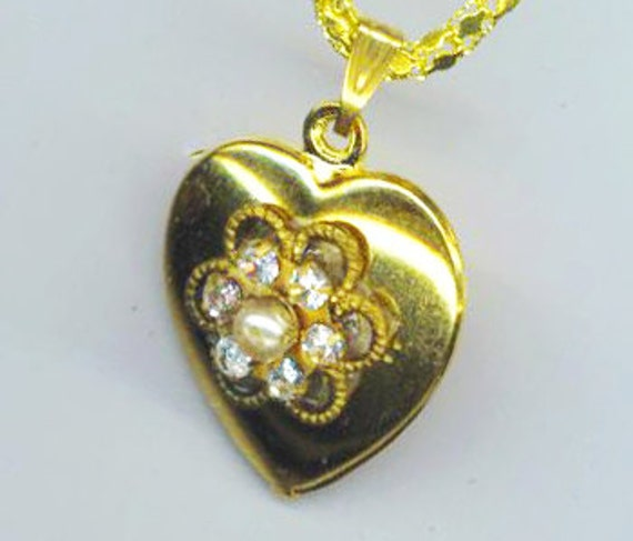 Puffy Heart Pendant, 16 mm x 18 mm Vintage Charm, Gold plated Necklace, Clear Swarovski Rondelle, 18K GP chain, Crystal Love, Valentines Day