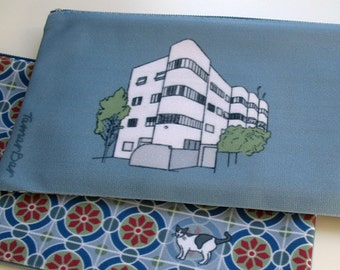 zipper pouch pencil case, clutch, Bauhaus, city, architecture, Tel-Aviv, illustration, building, blue