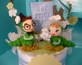 OOAK Bookworms Our Story Begins Wedding Cake Topper Keepsake