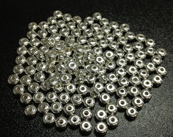 Silver Plated 4x3mm Rondelle Bead