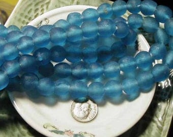 Royal Blue Recycled Glass Beads - 8 pcs - Ghana Africa - RCY1220