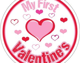 My First Valentine's Monthly Baby Waterproof Glossy Sticker