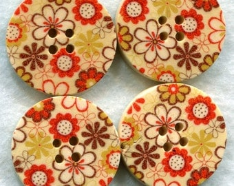 Flower Buttons Decorated Wooden Buttons  30mm (1 1/4 inch) Set of 4 /BT77
