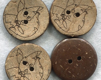 Pokemon Pikachu Coconut Wood Buttons Decorated Buttons 23mm (1 inch) Set of 8 /BT195