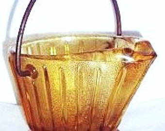 Amber Depression Glass Miniature Coal Scuttle, Small Vintage Yellow Glass Coal Bucket, Mini Coal Hod, Continental Can Co Depression Glass
