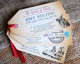 DIGITAL Tag Invitation and Envelope for Mad Hatter in Wonderland Tea Shower or Birthday