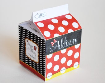 DIGITAL Milk Carton Favor Box Inspired by Minnie Mouse - Classic Red, Black and White with Polka Dots and Minnie's Bow