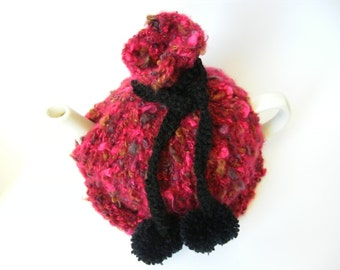 Hand knitted tea cosy, red and black pom poms, for the home, knit tea cozy, tea party, gift ideas, valentine, gifts for her