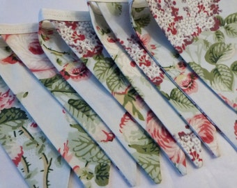 Sale - Laura Ashley Fabric Floral Girls Room, Wedding, Garden Party Bunting Flags - 9 Flags