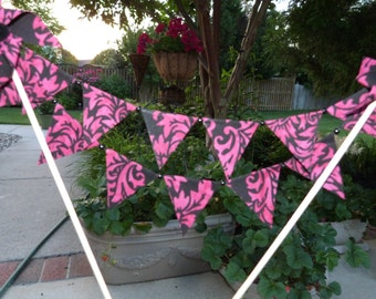 Wow Hot Pink and Black Batik Mini Cake Topper Pinwheel Bunting - Party, Shower, Birthday  Flags Banner