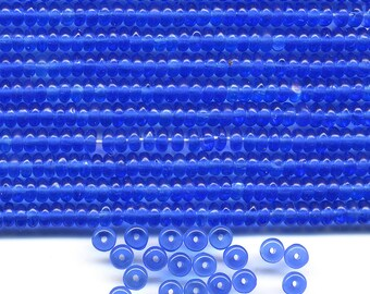 Vintage Blue Beads 4mm Translucent Sapphire Glass Rondelle Spacers 144 Pcs.