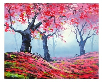 PINK WALL DECAL Tree Painting impressionist landscape  art oil Graham gercken
