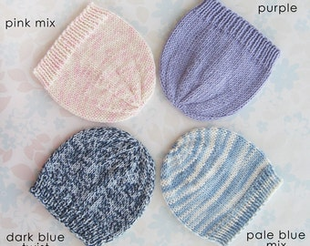 COTTON PREEMIE HAT - to fit baby from 3 to 7.5 lb (30 to 40 weeks) - 4 colour choices (pink, purple, pale blue or dark blue cotton)