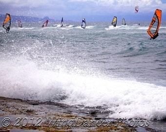 Dance of the Windsurfers - 11 x 14 Fine Art Photograph - Windsurfing - Hawaii - Sports - Gift Idea - Home Decor