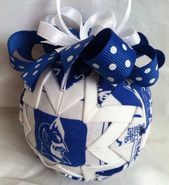 Duke University Blue Devils Inspired Quilted Ball Christmas Ornament