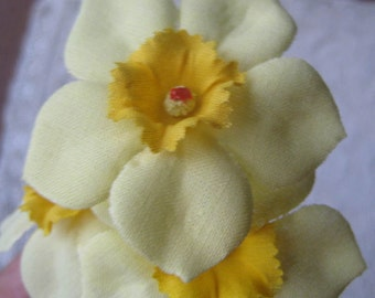 3 Daffodils Czech Republic Millinery Fabric Flowers Hand Made Yellow