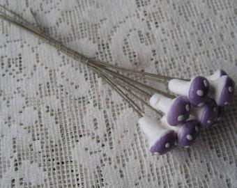 Spun Cotton Mushrooms Made In The Czech Republic 10 Little Lacquered Mushrooms Purple  MU 110