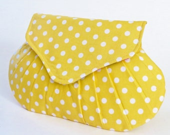 Handmade Clutch, Pleated Purse, Yellow Polka Dot Clutch, Bridesmaid Gift, Small Bag, Wedding Accessory, Dearest Grace, Summer Style