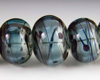 Hollow Lampwork bead set, variated colors with drizzle