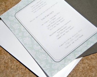 Floral Lace Damask Wedding Baptism Anniversary Party Invitation set of 10 by Belleza e Luce