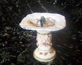 Pedestal Dessert Plate Ceramic Pedestal Plate Cupcake Plate Candle Holder Trinket Dish