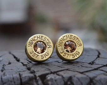 Bullet Earrings stud or post, Brass/Gold Winchester .357 Sig Handcrafted with Swarovski crystals
