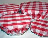 Red White Gingham Reusable Eco-Friendly Fabric Picnic Food Bowl Covers Lids (Set of 4)