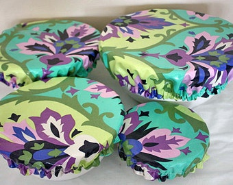 Food Bowl Covers Reusable Laminate Picnic Amy Butler Purple Trumpet Fabric (4 Piece)