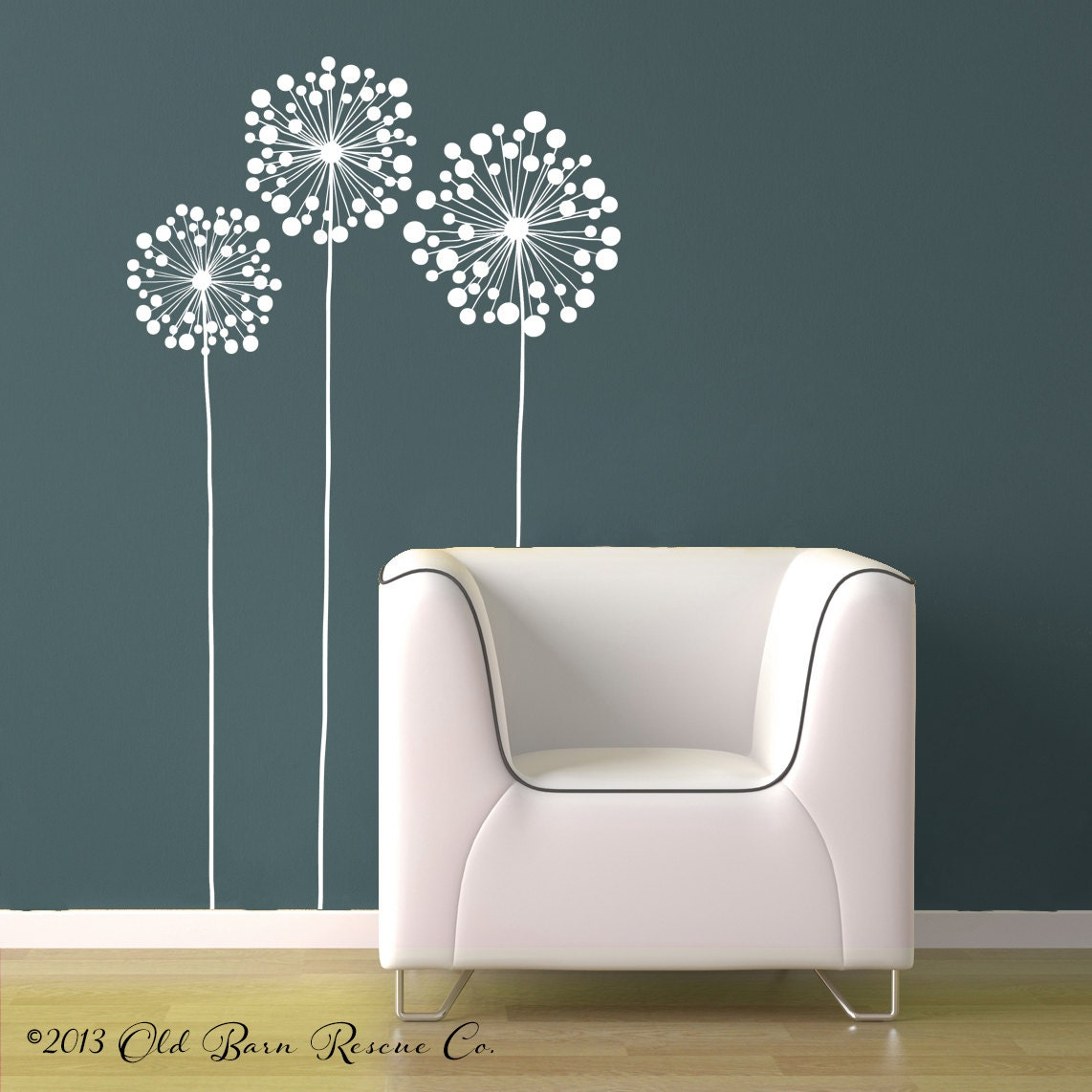 3 Large Flowers Vinyl Wall Decal Design By Oldbarnrescuecompany