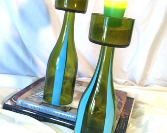 Upcycled wine bottle. Set of two candle holders