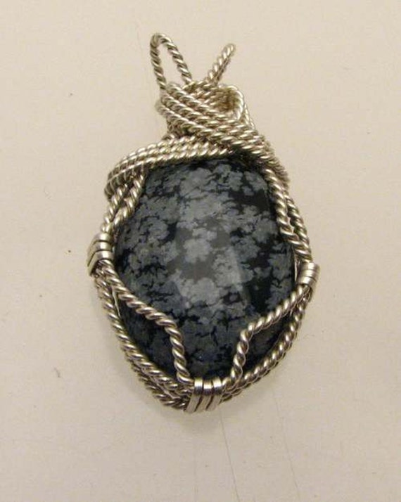 Handmade Solid Sterling Silver Wire Wrap Snowflake Cabochon Pendant