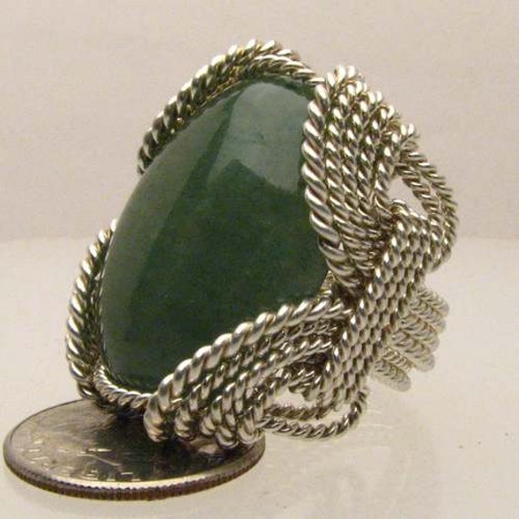 Handmade Solid Sterling Silver Wire Wrap Green Onyx Cabochon Ring