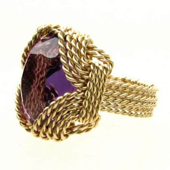 Handmade 14kt Gold Filled Wire Wrap Amethyst Gemstone Ring