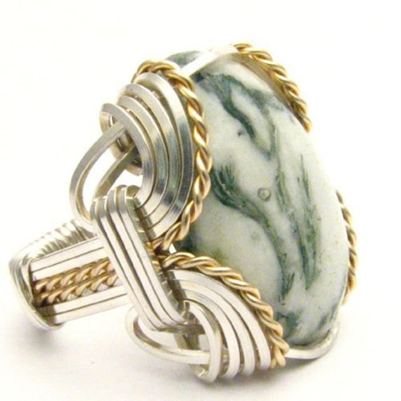Handmade Wire Wrap Two Tone Sterling Silver/14kt Gold Filled Green Tree Agate Ring
