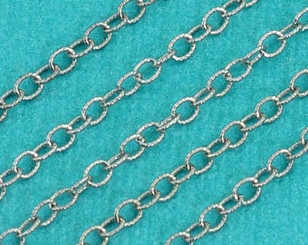 Rhodium Sterling Silver Bulk Chain 2MMx2.3MM By The Foot