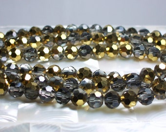 48pcs 8mm Round Faceted Chinese Crystal Glass Beads with Metallic Gold Half coat Strand Jewelry Jewellery Craft Supplies