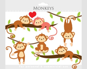 Monkey clipart - whimsical monkeys clip art, cute monkeys, jungle clipart, animals, nursery clipart for personal and commercial use