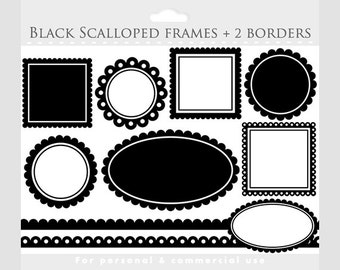 Black scalloped frames clipart - square, circle, oval, borders, frames for collages, digital scrapbooking for personal and commercial use